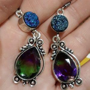New Ametrine and Titanium Druzy Silver Earrings.